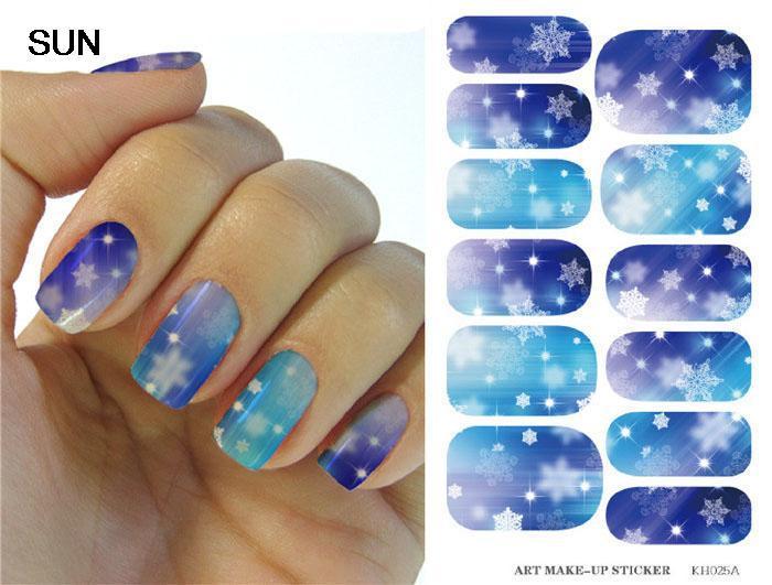 Water Transfer Foil Nails Art Sticker Christmas Snowflake Flash Diamond Designs Nails Sticker Manicure Decor Decals Wholesale(China (Mainland))