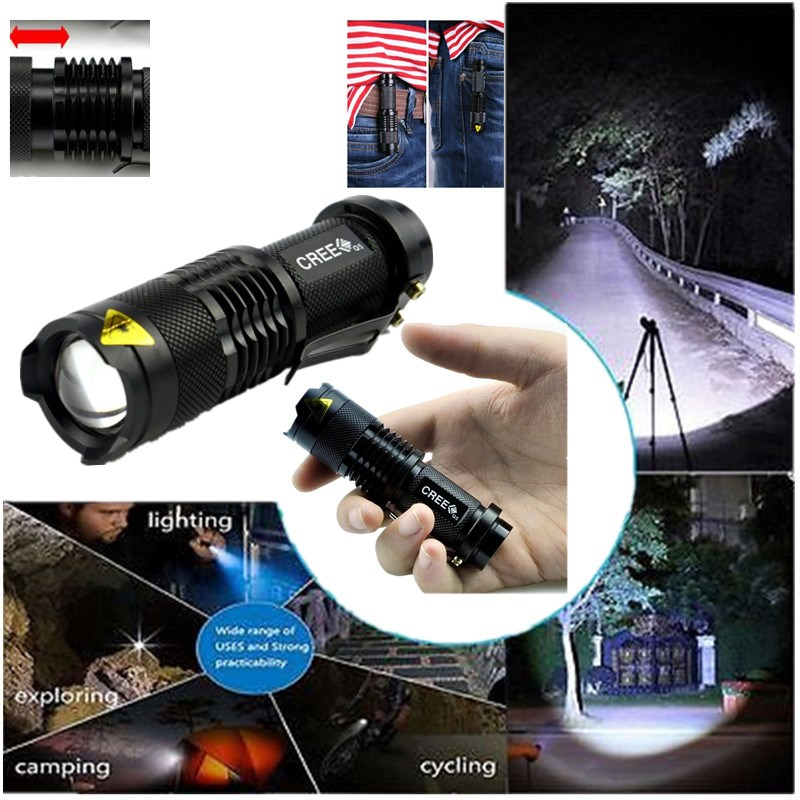 Mini Black Brand 2000LM Waterproof LED Flashlight 3 Modes Zoomable LED Torch penlight lampe torche linterna zaklamp(China (Mainland))