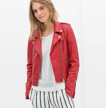 New fashion red jacket new fashion bomber motorcycle Leather jackets women 2 color brand jacket jaqueta couro(China (Mainland))
