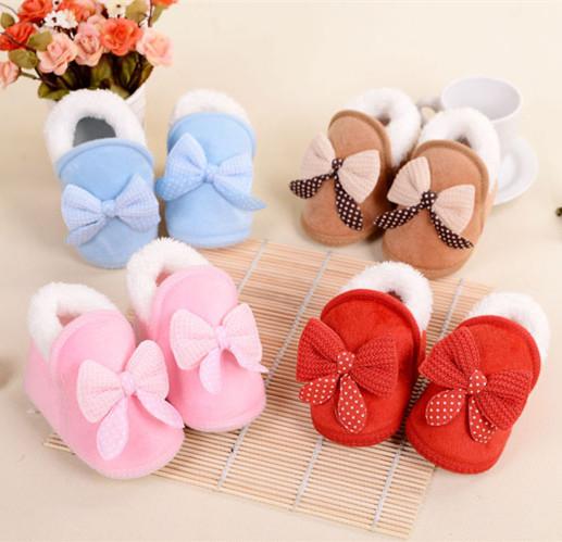 Ребенка пинетки зима теплая чистка детская обувь первый день рождения с бантом кроватки ...