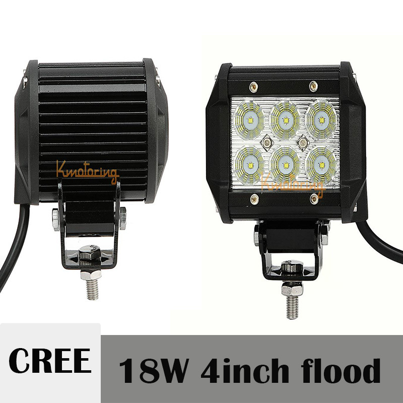 4 Inch CREE 18W Offroad LED Work Light Bar 12V 24V Flood Beam ATV Car Auto SUV 4X4 4WD Driving Lamp DRL Headlight For JEEP Ford(China (Mainland))