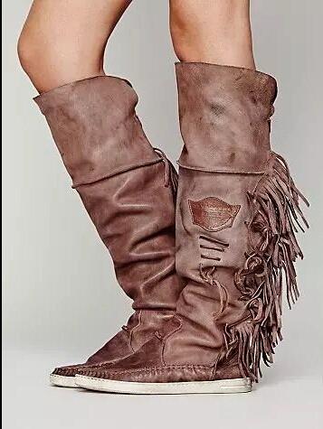 Нубук кожа Высокое качество 2015 новое поступление мода кисточка бахрома квартиры женщин-сапоги колен-высокие ботинки круглый носок женская обувь туфли-botas