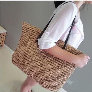 Fashion Womens Straw Summer Weave Woven Shoulder Tote Shopping Beach Bag Purse Handbag straw Beach Bags travel for vacation