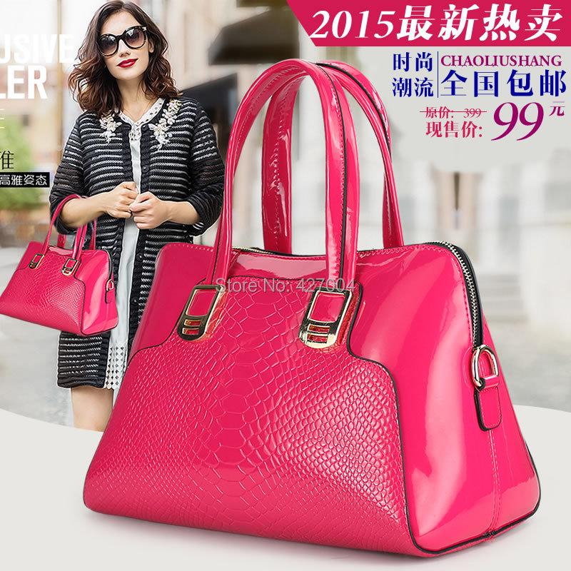 Womens handbag 2015  shoulder  serpentine pattern rose black female  large capacity  patent leather<br><br>Aliexpress