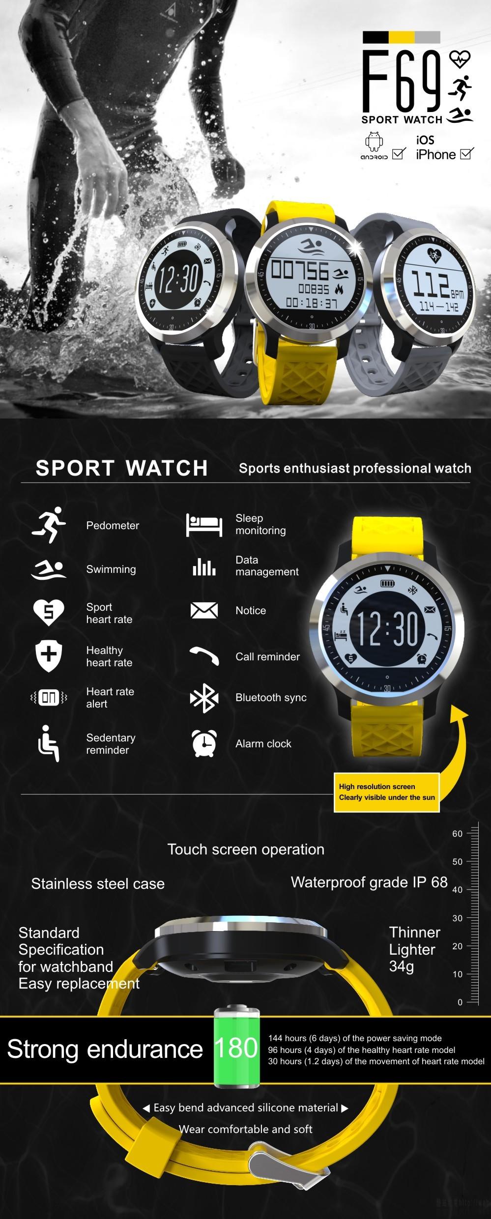 ถูก IP68กันน้ำว่ายน้ำกีฬานาฬิกาสมาร์ทโทรข้อความเตือนsmartwach android ios pedometerนอนmonintorติดตามสุขภาพ