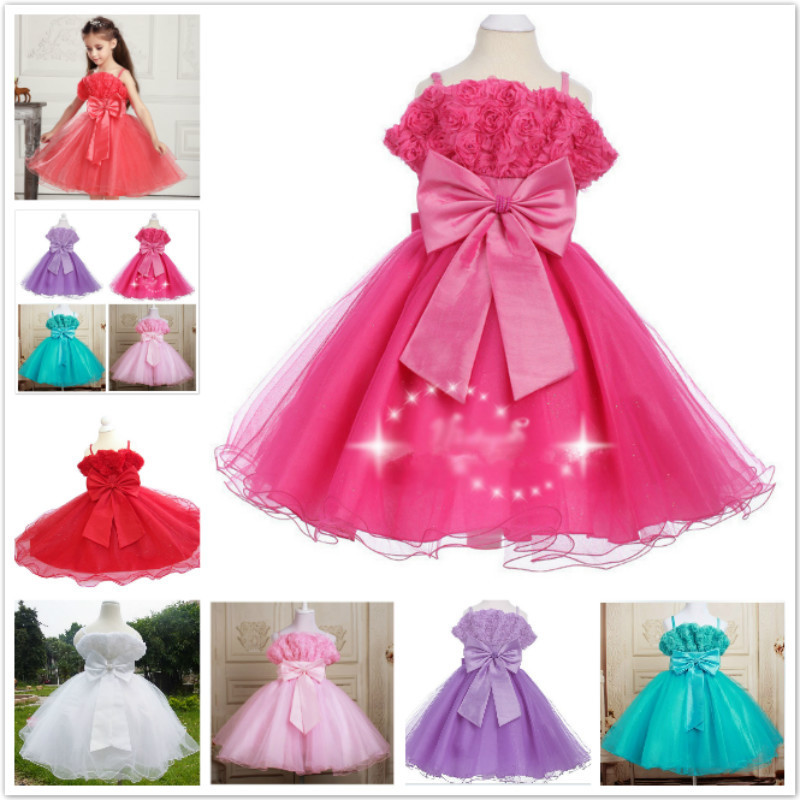 5298 Children Kid Girl Baby toddler Princess Party Evening Wedding Flower Pearls Dress Clothes costume size 3 4 6 8 10 12(China (Mainland))
