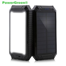 Buy PowerGreen Carabiner Design Slim Power Bank Double USB 10000mAh Mini 5V 2A Solar Panel Charger Samsung Phone Flashlight for $27.03 in AliExpress store