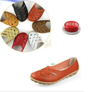 Free shipping Lady sandals 2014 flat heel genuine leather casual mother shoes bird nest cutout female(China (Mainland))