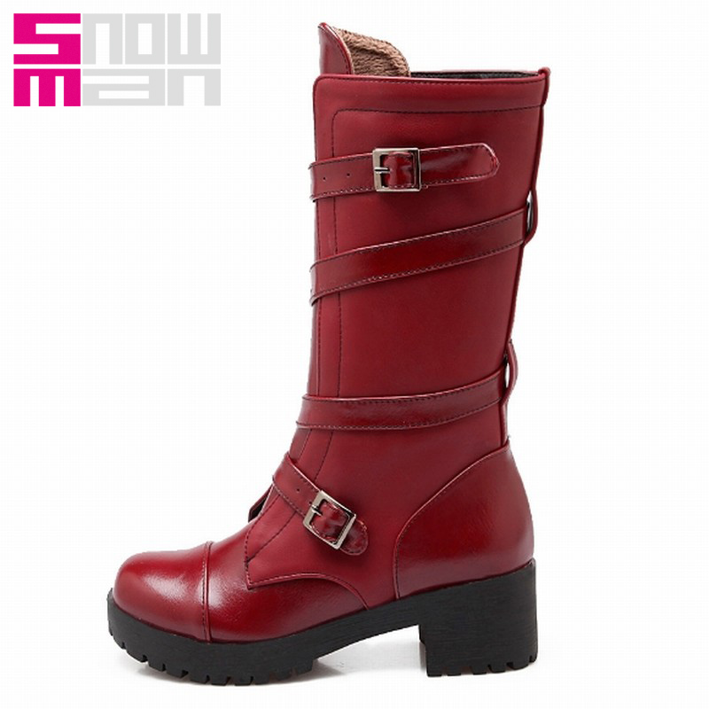 Fashion Buckle Short Boots for Women Casual Chunky Heels Platform Motorcycle Boots Autumn Winter Boots Winter Shoes Woman
