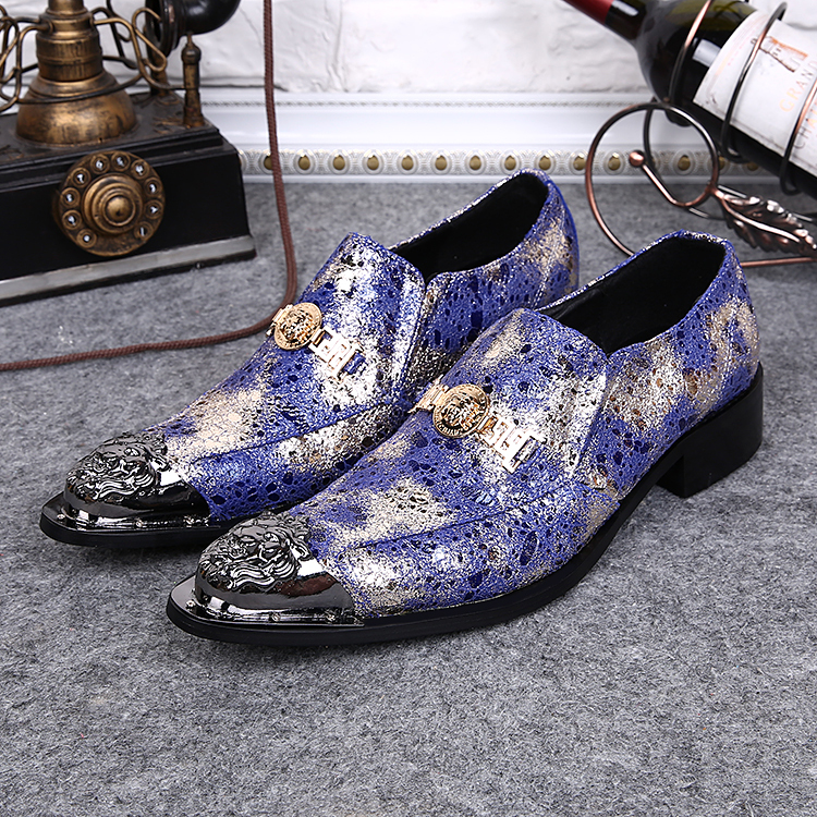 2016 New Men Shoes Mens Genuine Leather Pointed Metal Tip Gold Buckles blue Mens Formal Dress Party Wedding Shoes for man<br><br>Aliexpress