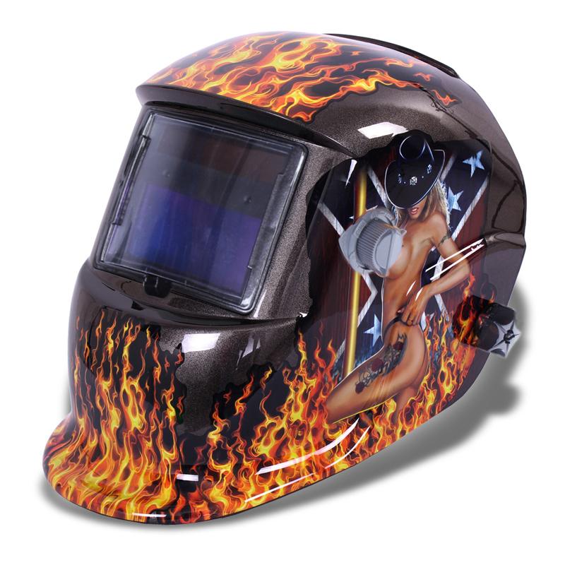 Solar auto darkening welding helmet auto-dimming welding welding helmet hat black beautiful flame(China (Mainland))