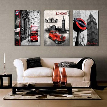 3 Piece Free Shipping Hot Sell Modern Wall Painting London city scenery Home Decorative Art Picture Paint on Canvas Prints