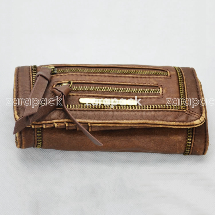 New Punk Vintage River Island wash leather 3 fold wallet bag clutch(China (Mainland))