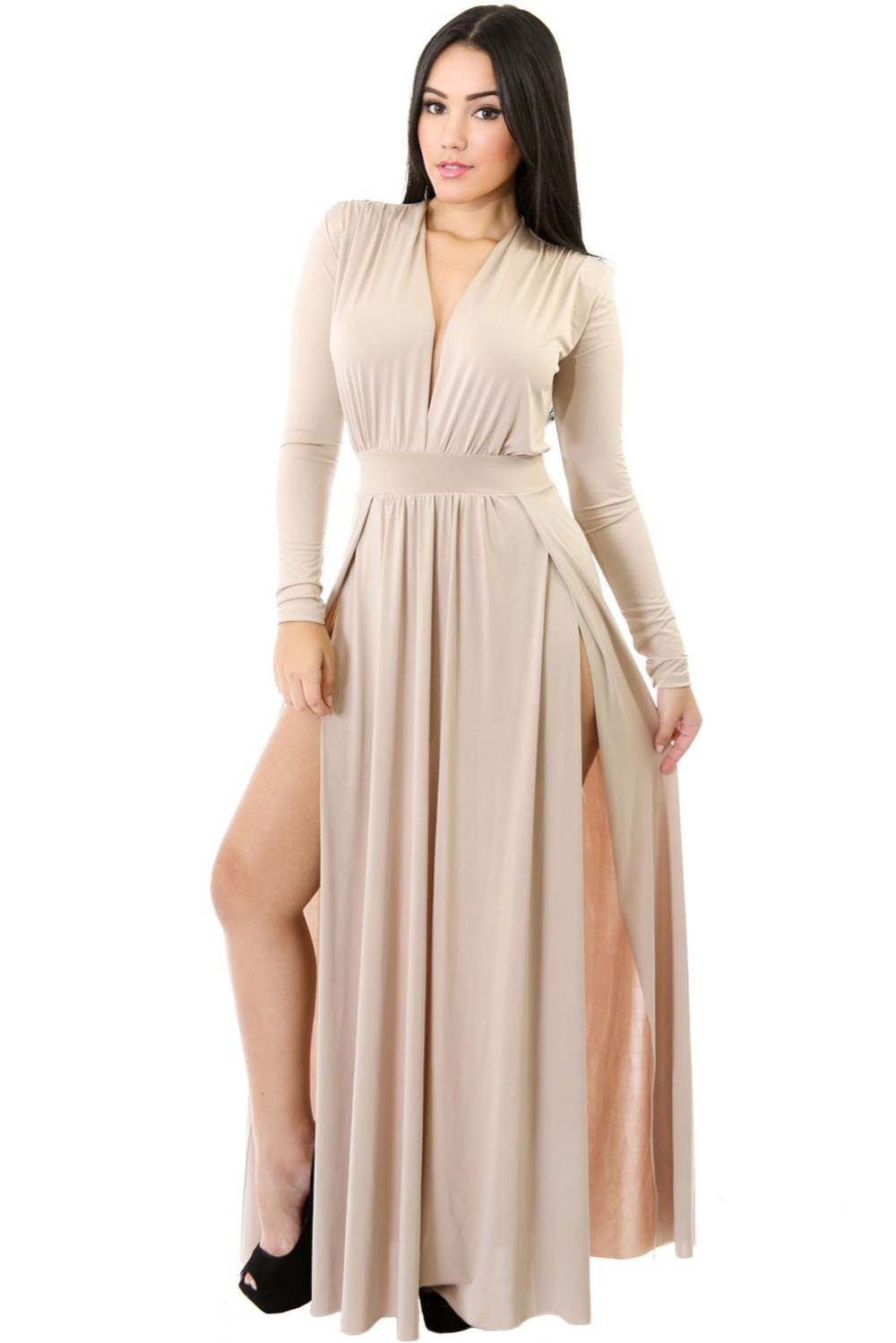 Apricot-Super-Classy-Long-Sleeves-Double-Slit-Long-Maxi-Dress-LC61282-18-1