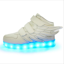 Kids Boys Girls USB Charger 7 Colors LED Lights Luminous Shoes with Wings Children Shoes with lights