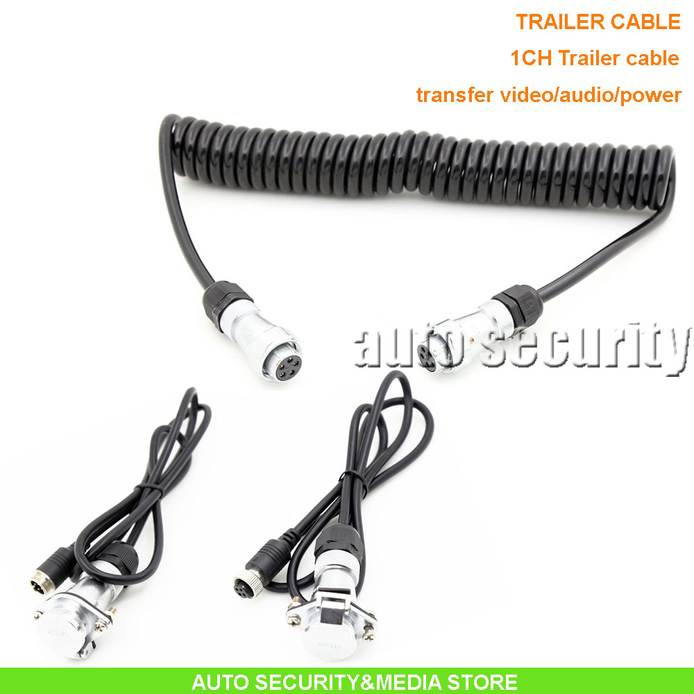 1CH 5pin metal connector trailer cable 1m*4m*1m ideal for various truck/lorry/caravan camera system, DC12-24V wide voltage(China (Mainland))