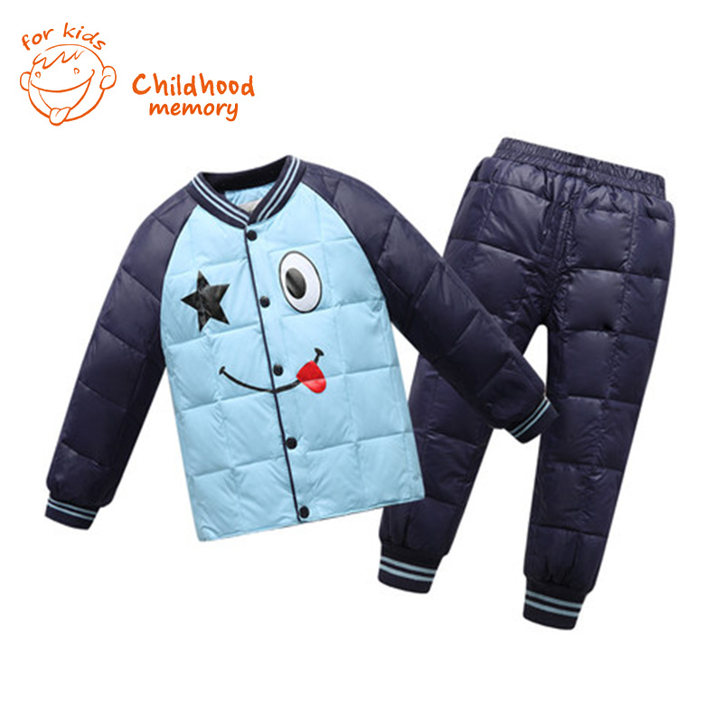 Baby Boys Girls Clothes 2015 new paint Kids winter Jacket Trousers Brand Children Warm Suits boys girls clothing set