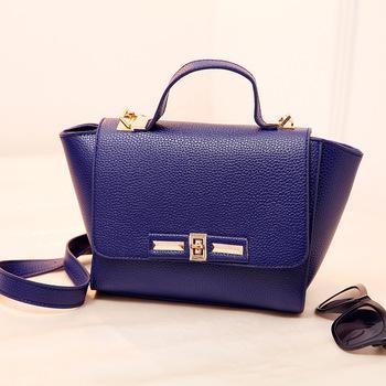 2015 New Women's Casual Bat Bag Metal Buckle Handbag Shoulder Bag PU Leather Messenger Cross Body Bag Small Purse Tote Bags