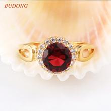 2017 BUDONG Brilliant Jordans Women Halo Big Finger Band Gold-Color Ring Round Cut Crystal CZ Zircon Wedding Jewelry R326(China (Mainland))
