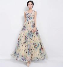Aliexpress Ebay Europe and MS. Bohemia beach sleeveless butterfly Print Chiffon dress big pendulum