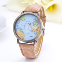 2015 World Map Watch By Plane Watches Women Men Denim Fabric Watch Quartz Relojes Mujer Relogio
