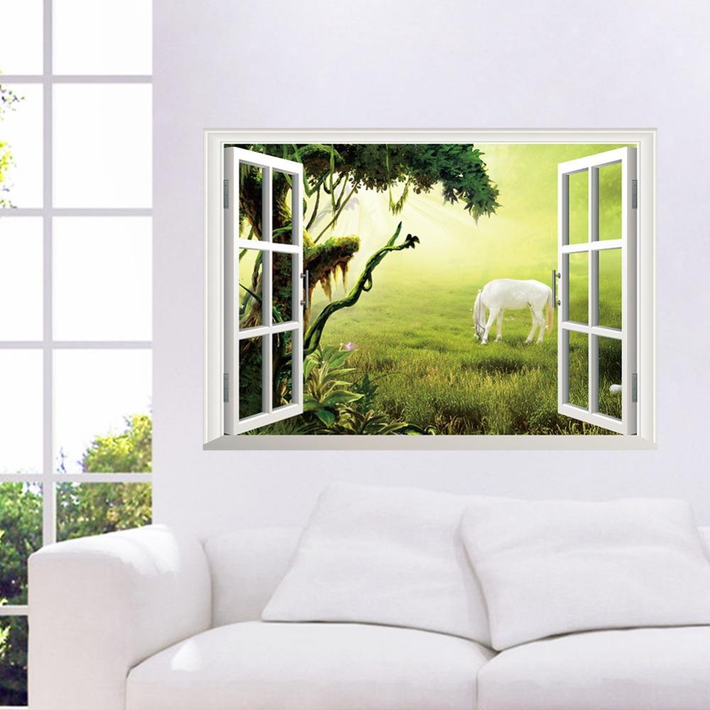 Free shipping car/grassland Ma Fengjing fake windows Sitting restaurant backdrop 3D stickers waterproof removable home decor &(China (Mainland))