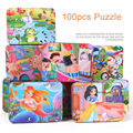 Baby Wooden toys100pcs wooden Puzzle jigsaw puzzle for children early education cartoon puzzles table kids games