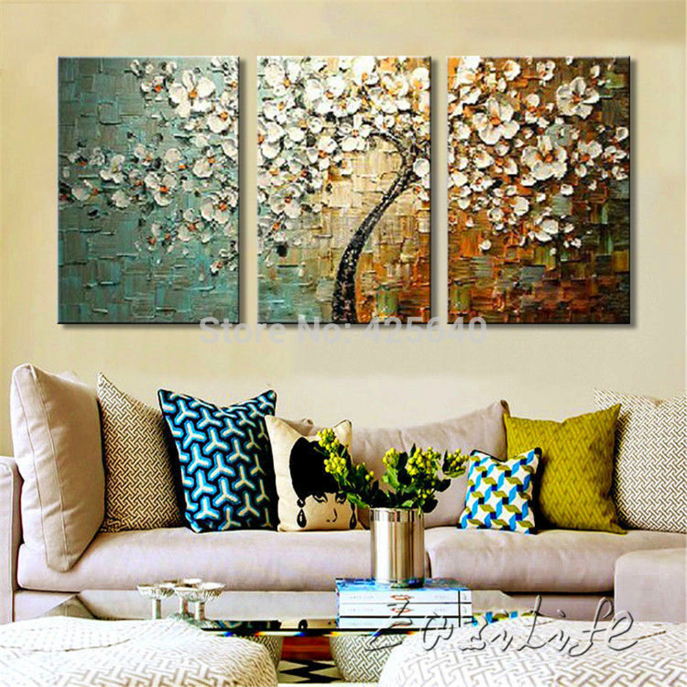 3 Piece Hand Painted Palette Knife Flower Tree Oil Painting Wall Art Canvas Picture Modern Abstract Home Decor Living Room Set(China (Mainland))