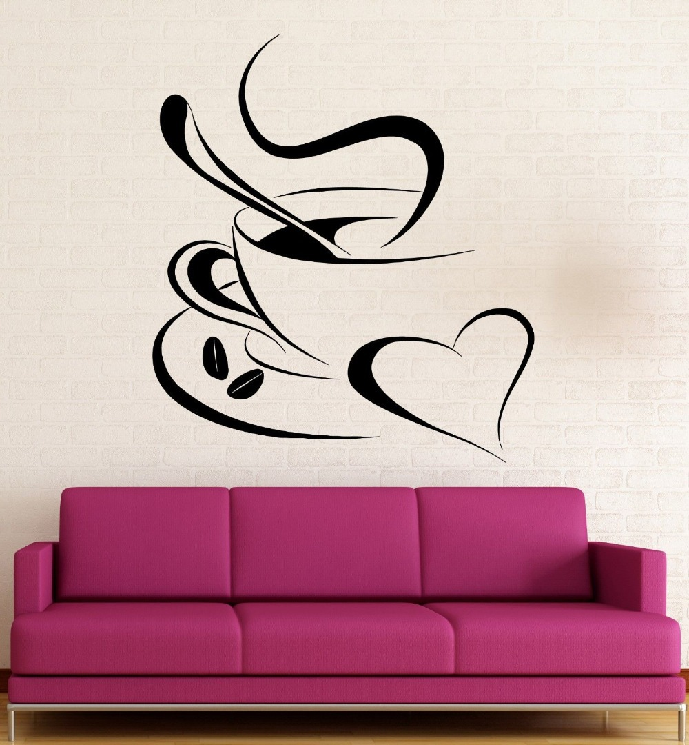 Coffee Vinyl Decal Romantic Coffee Shop Kitchen Cafe Wall Stickers(China (Mainland))