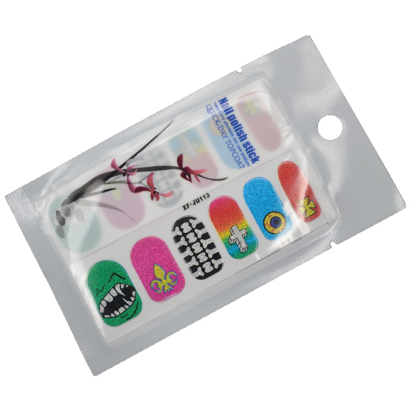1 Pack 2016 New Styles Nail Art Foils Polish Stickers Adhesive Decals Manicure Wrap + Free Shipping (XF.JU113)(China (Mainland))