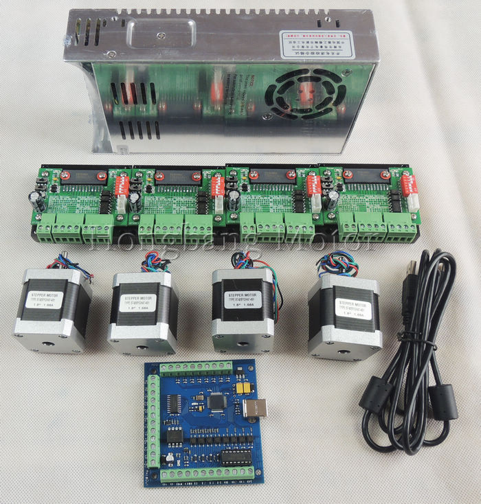 Cnc router mach3 usb 4 axis kit 4pcs stepper motor driver 4 axis stepper motor controller