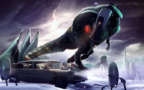 T-Rex Tyrannosaurus Rex portal fan art dinosaur car cosmonaut rendering Home Decoration Canvas Poster(China (Mainland))