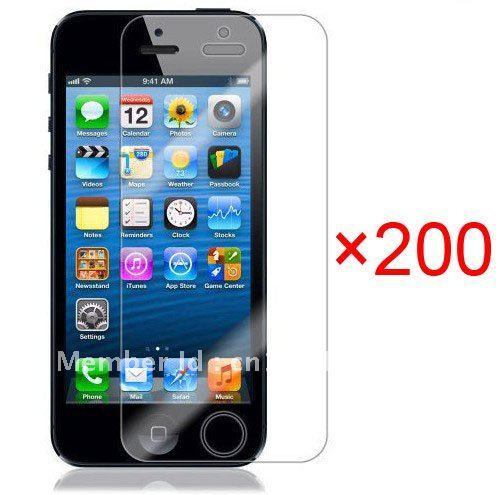 Free shipping 200pcs/lot For iphone 5 5G clear screen protector guard lcd protector film Front+back