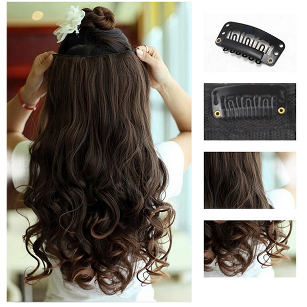 1pc Women curly/Wavy Long Hair extentions 5 clips in on synthetic hair 3 colors for Human(China (Mainland))