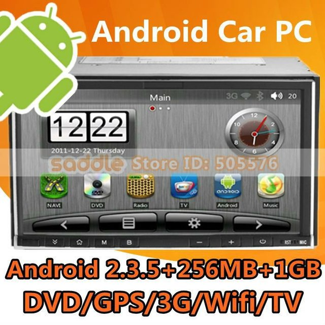 Android Car PC , 2012 Best 2 Din Car PC with Android 2.3 + DVD + iPod + 1080P + GPS + Wifi + 3G + TV Free Shipping!