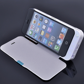 High capacity 4200mah Backup Power External Battery Charger Case Leather Flip Cover for iPhone 5 5S Free shipping