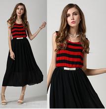 Free Shipping 2015 Summer Dresses Women Free Belt European Style Striped Noble Red Dress For Female Sleeveless Party Vestidos