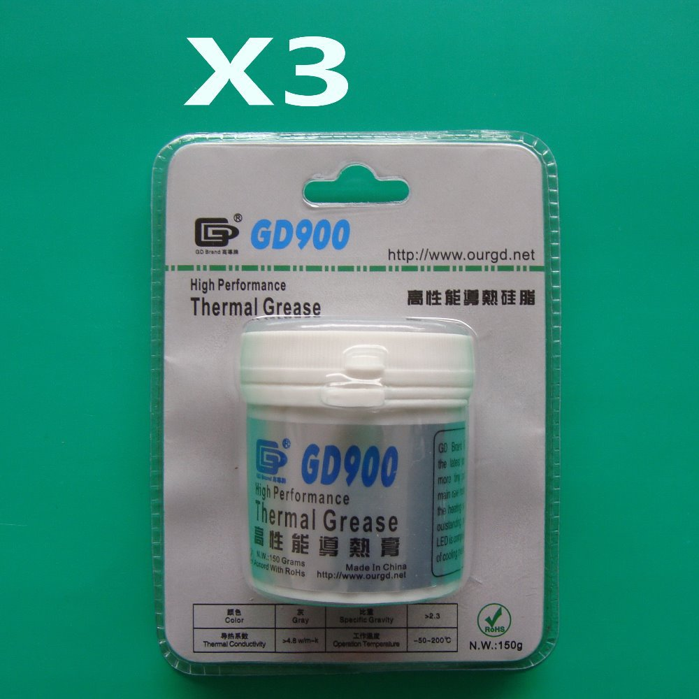 Free shipping 3 pcs/lot 150g high performance gray GD900 thermal conductive compound grease paste silicone for CPU GPU LED<br><br>Aliexpress