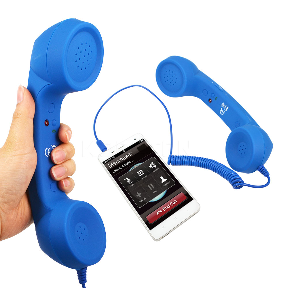 New Arrival3.5mm Retro Telephone Handset Radiation-proof adjustable tone Cell Phone Receiver Microphone Earphon for iPhone(China (Mainland))