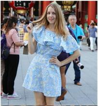 women summer dress 2016 ruffle plus size Sleeve Off Shoulder woman beach dress sexy party dresses(China (Mainland))