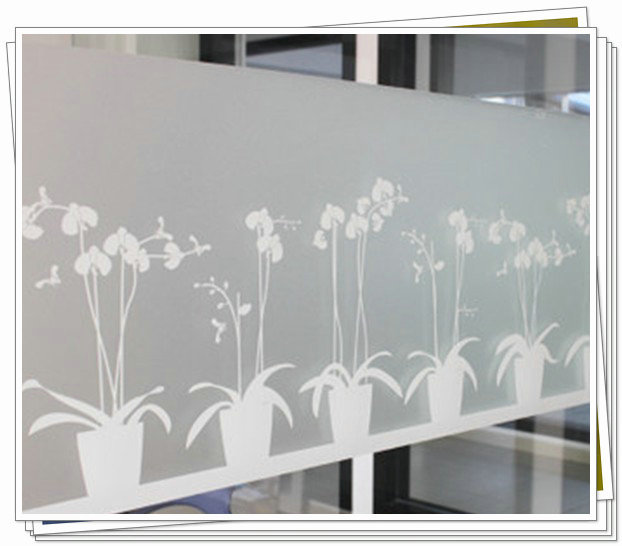 Non-adhesive Long-lasting Quick DIY 45 x 200 cm Easily Remove Etched Butterfly Orchid Decoration Window Film for UV Rejection be(China (Mainland))
