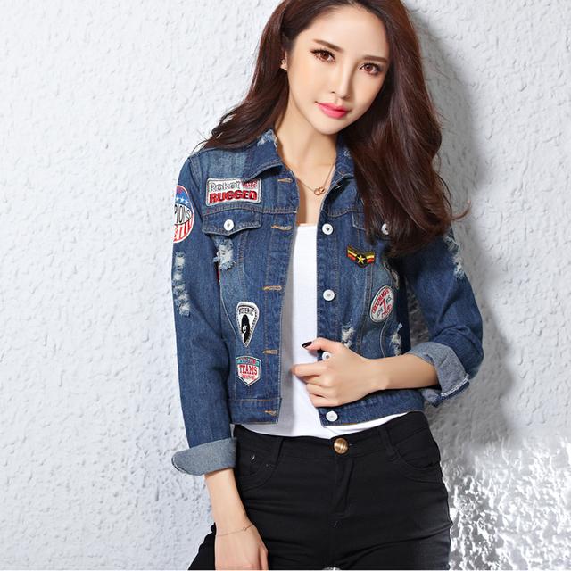 Куртки harajuku женщины патчи синие джинсы куртка аппликации джинсовые женщин мода ...