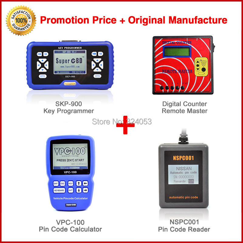 Promotion price SuperOBD SKP900 OBD2 key programmer V4.2 +VPC100 PIN code reader +NSPC001 PIN CODE reader+Digital counter remote(China (Mainland))