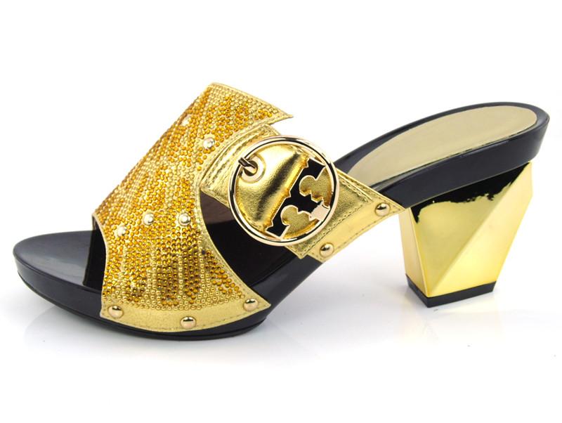 DX16-707 Gold Color Custom Handmade Rhinestones High Heel Women Slippers Wedding Shoes Evening Shoes Women Sandals(China (Mainland))