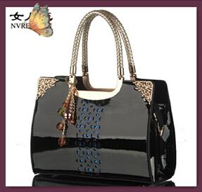 NO.1 NEW OL Patent Leather Handbags Crocodile Women Leather Bags Fashion Women Messenger Bags BOW Women's Shoulder Bags CY02