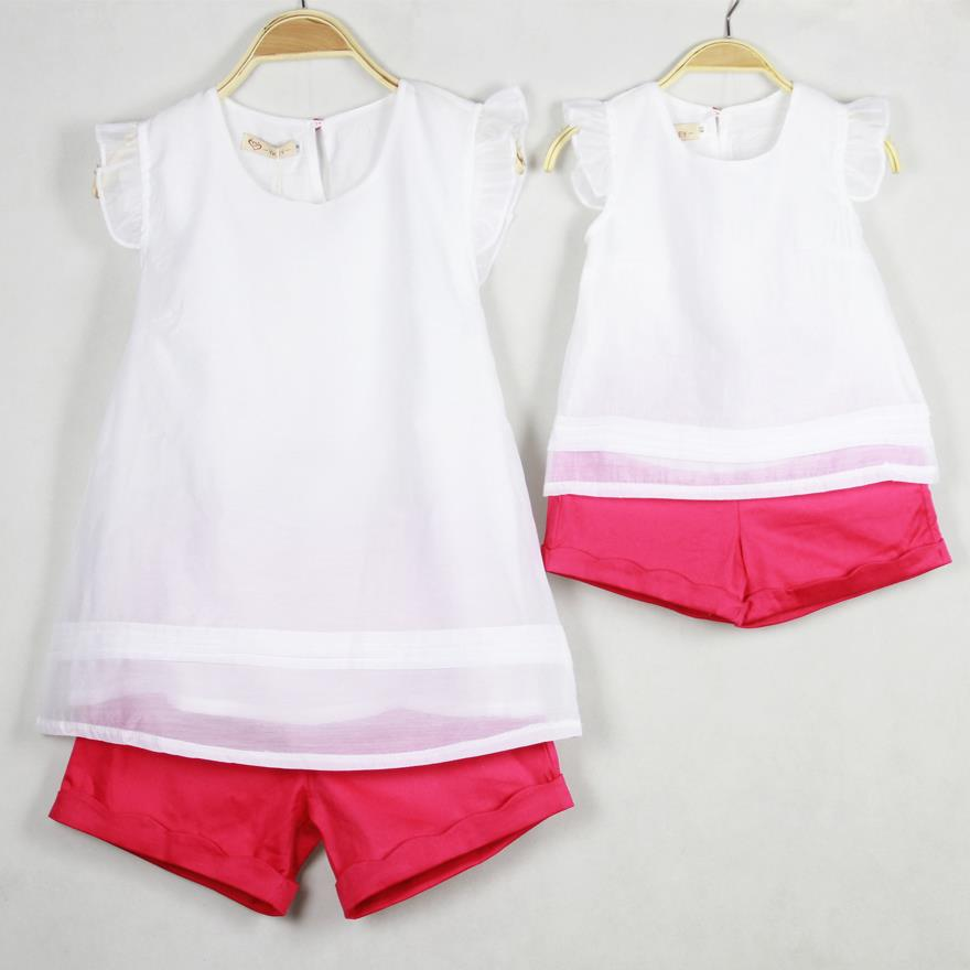 Retail family set clothes for mother and daughter white t shirt+shorts two pieces set Parent-child outfit AF-1590<br><br>Aliexpress