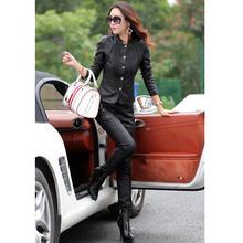 2016 Spring Autumn fashion leather jacket motorcycle clothing design slim female short coat women jacket plus size 3XL 158(China (Mainland))