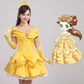 Cosplay Beauty and the Beast Princess Belle Yellow Women Dress Halloween Party Wedding Dress Bride Dress