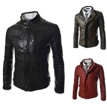 Free Shipping New Arrival Stand collar jacket Solid color leather slim men bomber jackets Man PU Motorcycle coat camperas hombre(China (Mainland))