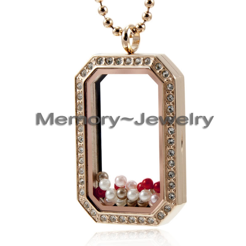 2015 Newest Style 4cm Stainless Steel rose gold crystal floating dog tag lokcet pendant(China (Mainland))